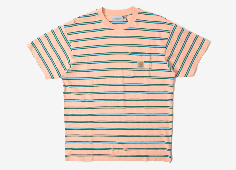 Carhartt Houston Stripe Pocket Stripe T Shirt - Peach