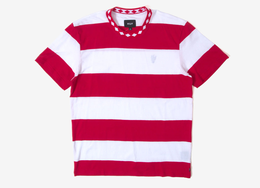 HUF Ace Stripe T Shirt - Red