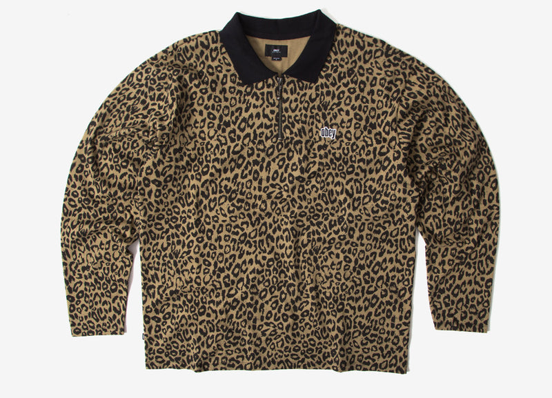 Obey Gimme Classic Polo LS Shirt - Khaki/Leopard