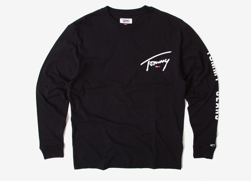 Tommy Jeans Sleeve Logo Long Sleeve T Shirt - Tommy Black