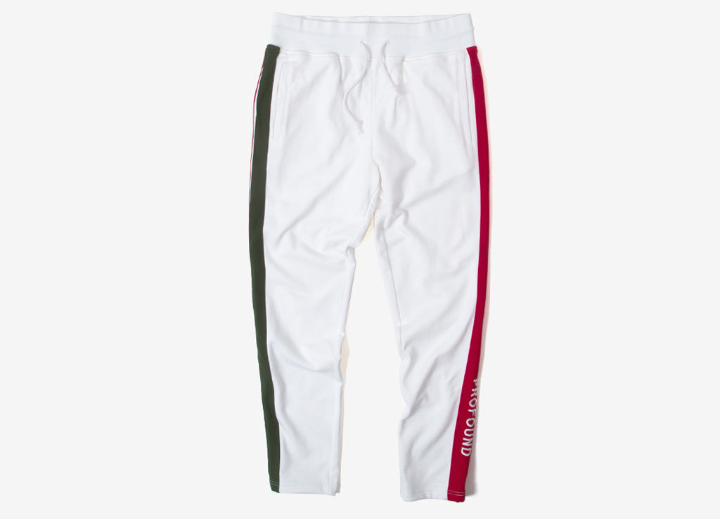 Profound Aesthetic Red & Green Striped Track Pant - White