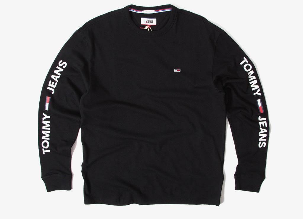 Tommy Jeans Essential Logo Long Sleeve T Shirt - Black