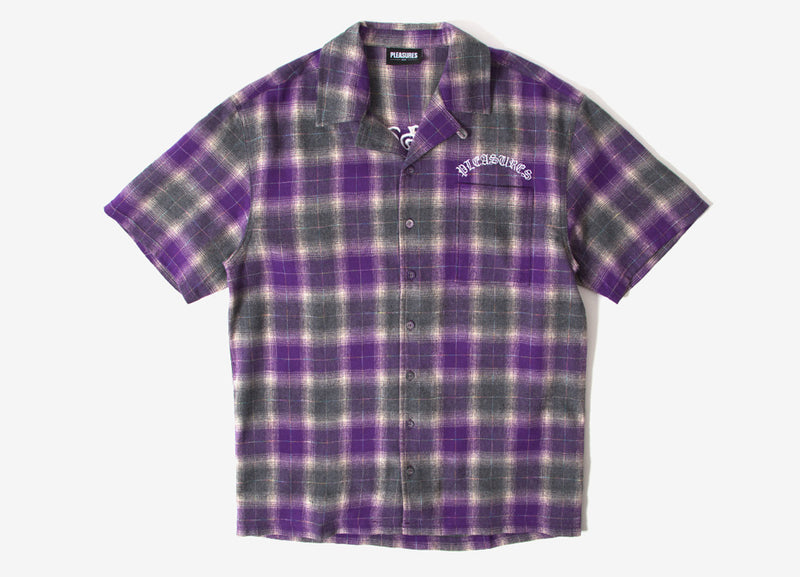 Pleasures Shadow Plaid Camp Collar Shirt - Purple