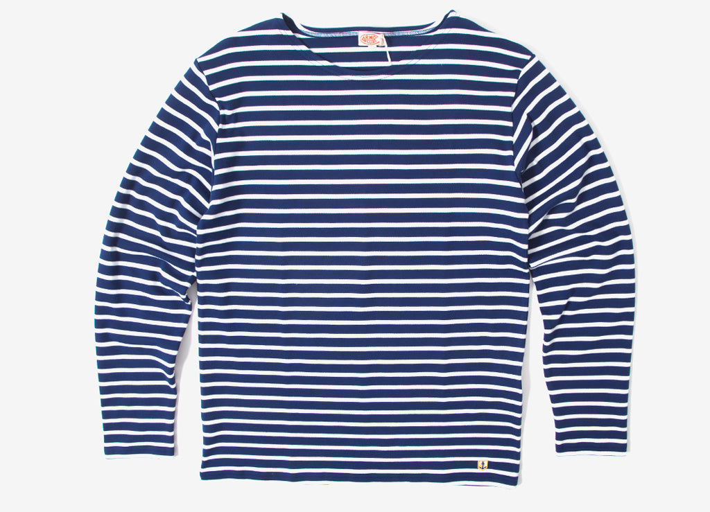 Armor Lux Heritage Breton Stripe Long Sleeve T Shirt  - Polo/Milk