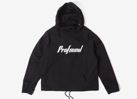 Profound Aesthetic Scripted Open Windbreaker Sport Parka - Black