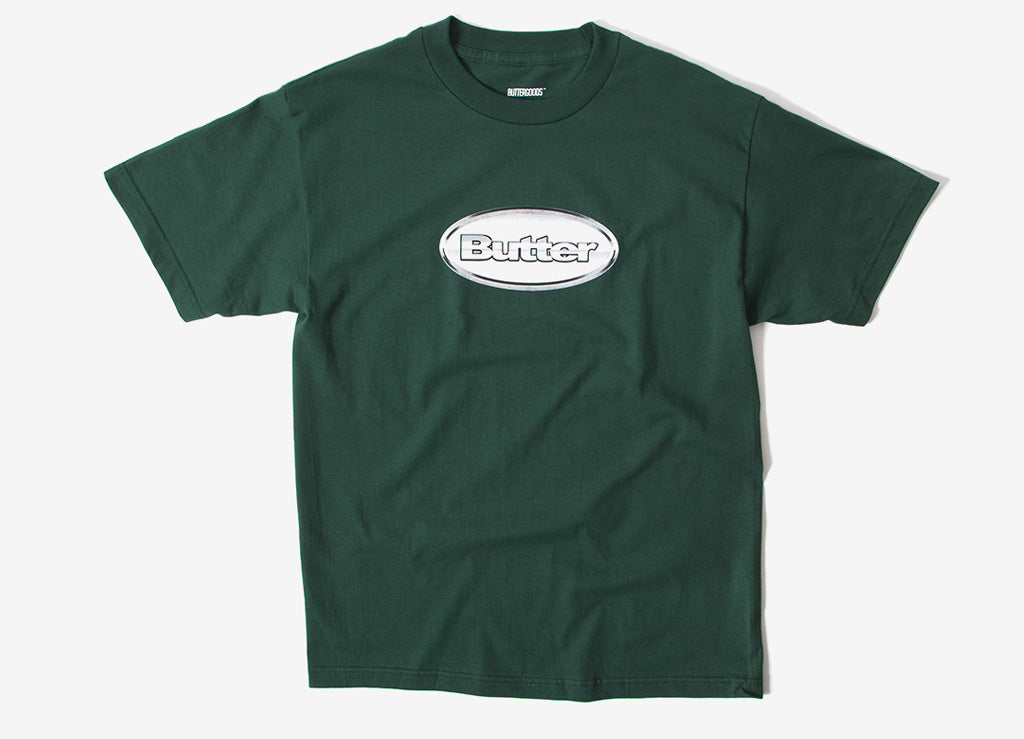 Butter Goods Chrome Badge Logo T Shirt - Forest Green