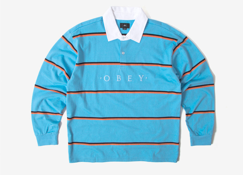 Obey Washer Classic Rugby Shirt - Light Blue Multi