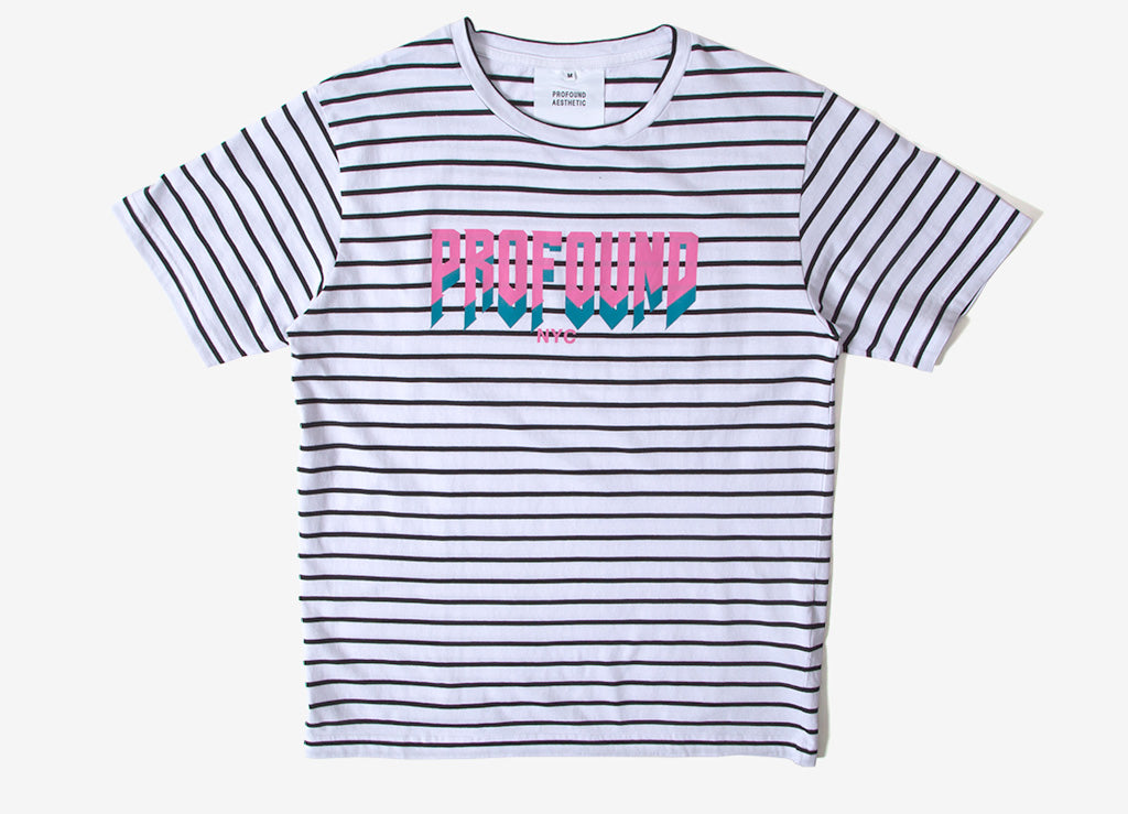 53518a0a Profound Aesthetic Striped Logo Graphic T Shirt | Profound Aesthetic  Clothing | The Chimp Store