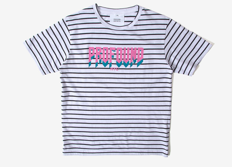 Profound Aesthetic Striped Logo Graphic T Shirt - White