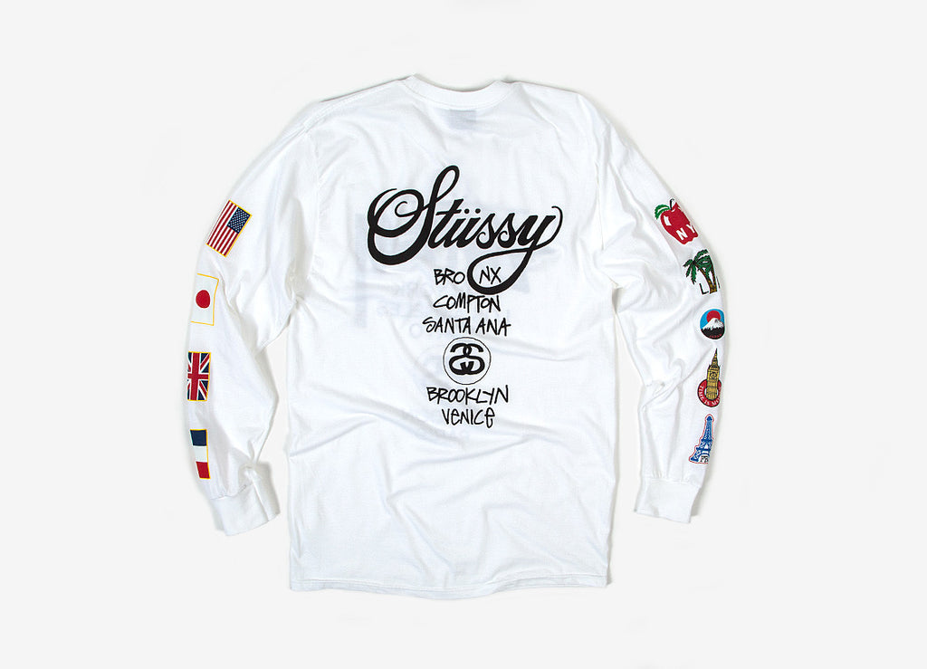 Stussy WT Flags L/S T Shirt - White