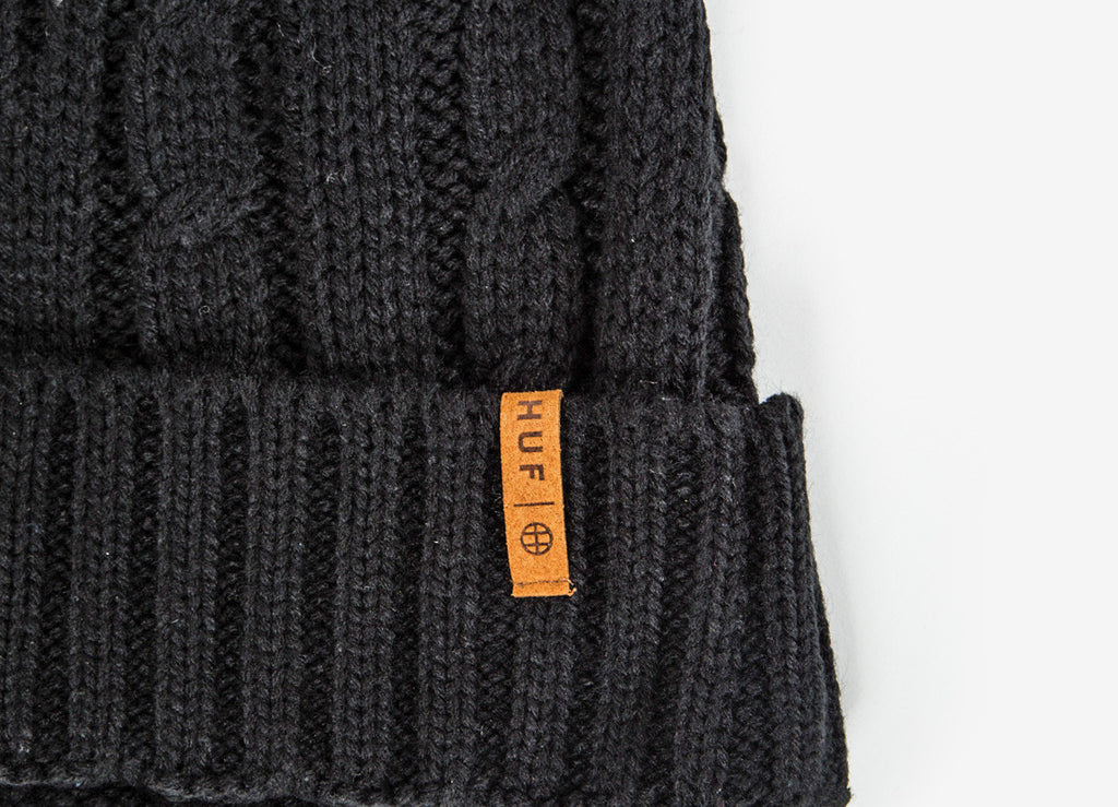 HUF Cable Knit Beanie - Black