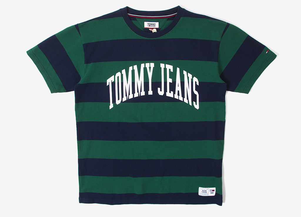 Tommy Jeans Collegiate Stripe T Shirt - Eden/Bold
