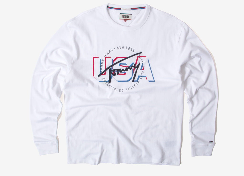 Tommy Jeans USA Shadow Long Sleeve T Shirt - White