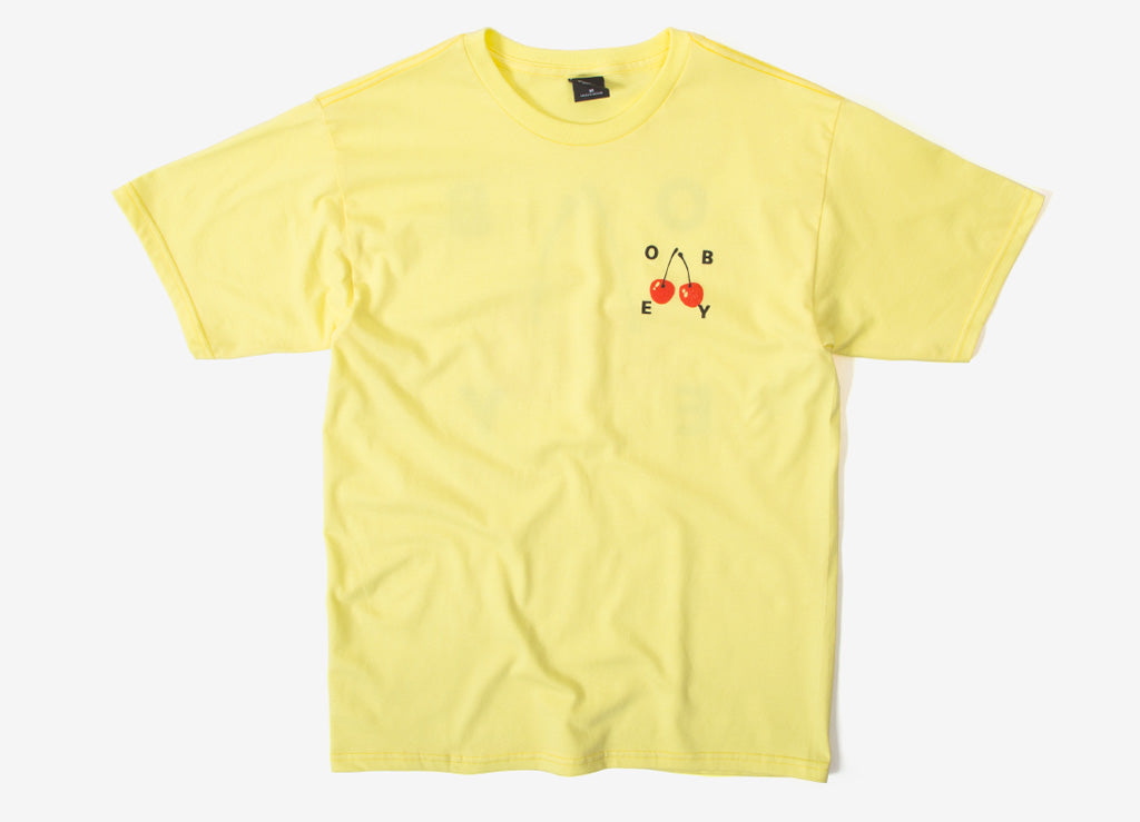 Obey Cherries 2 T Shirt - Lemon