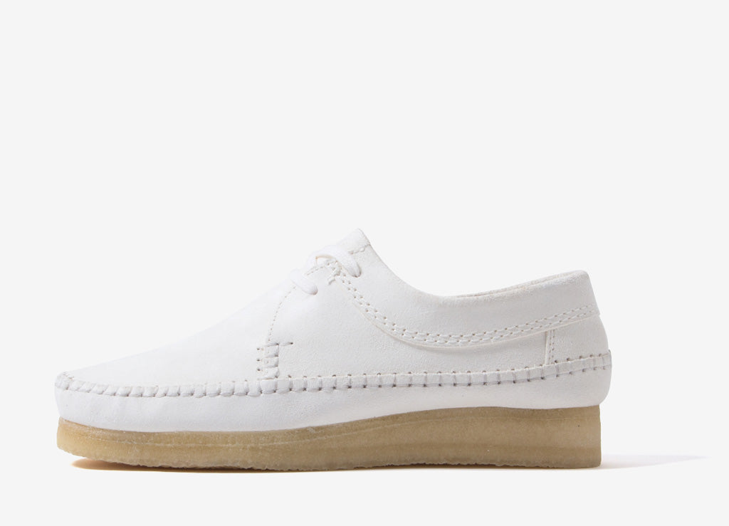 Clarks Originals Weaver Shoes - White Suede