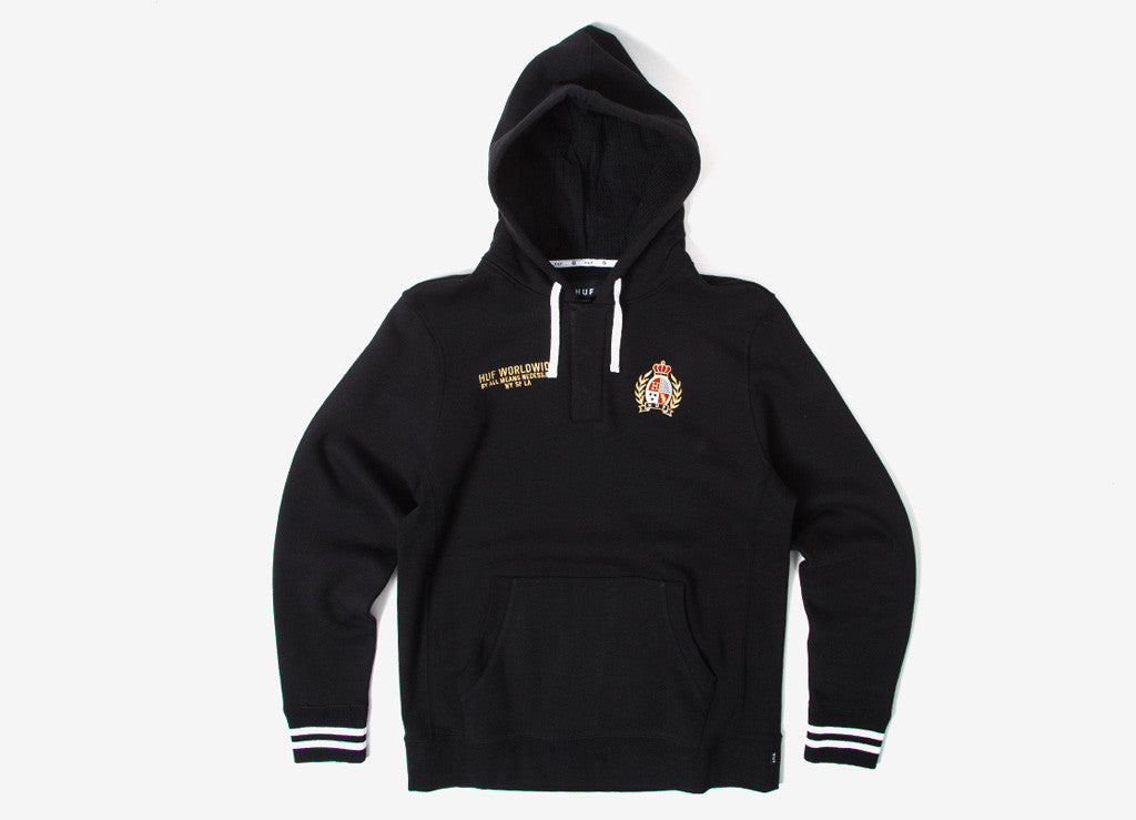 HUF Crest Rugby Pullover Hoody - Black