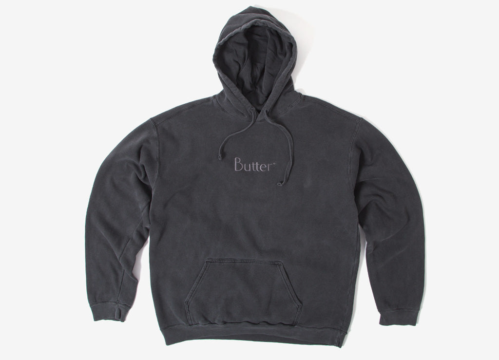 Butter Goods Tonal Embroidered Classic Logo Hoody - Vintage Black
