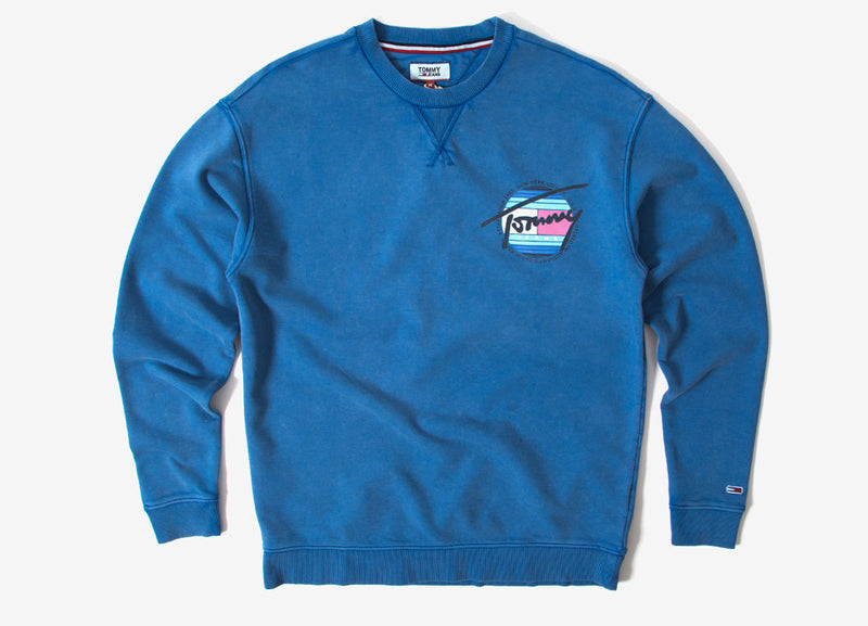 Tommy Jeans Light Washed Crewneck Sweatshirt - Federal blue
