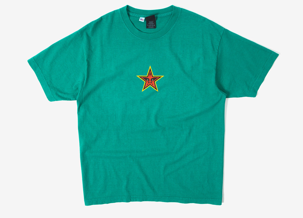 Obey Star Face T Shirt - Emerald