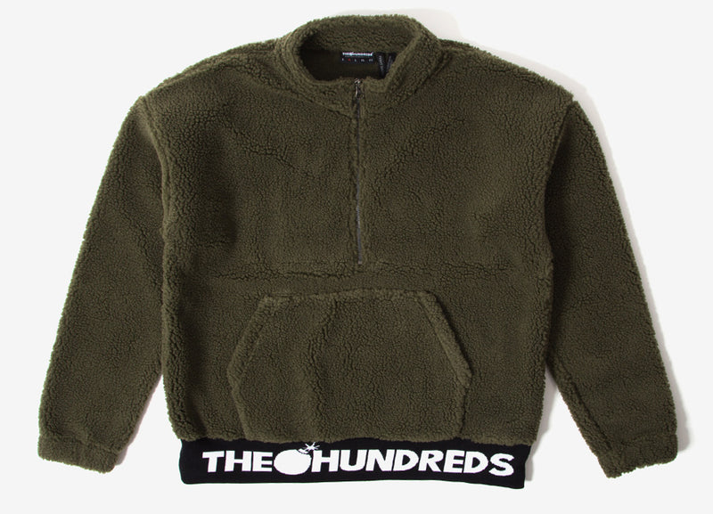 The Hundreds Nepal Half Zip Fleece Jacket - Olive