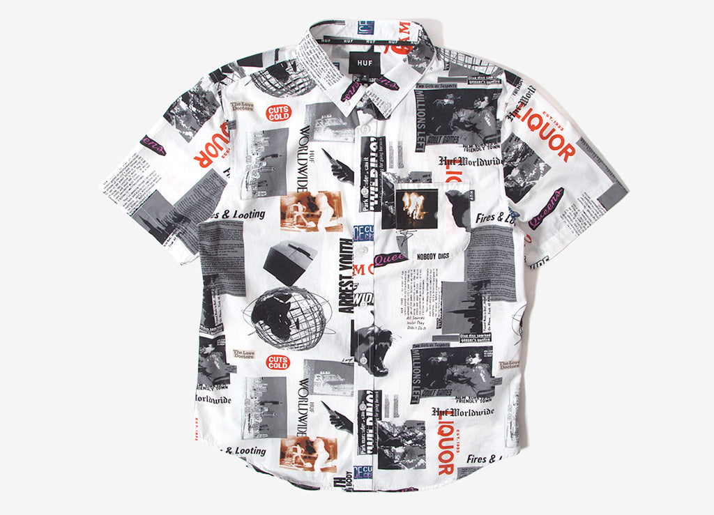 Huf Woven Headlines Short The Shirt Sleeve WhiteClothing dxBWQorCe