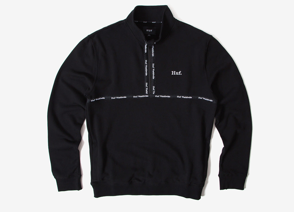 HUF Midtown 1/2 Zip Sweatshirt - Black