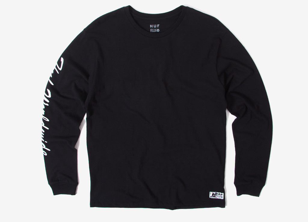 HUF x Felix The Cat Santee Long Sleeve T Shirt - Black