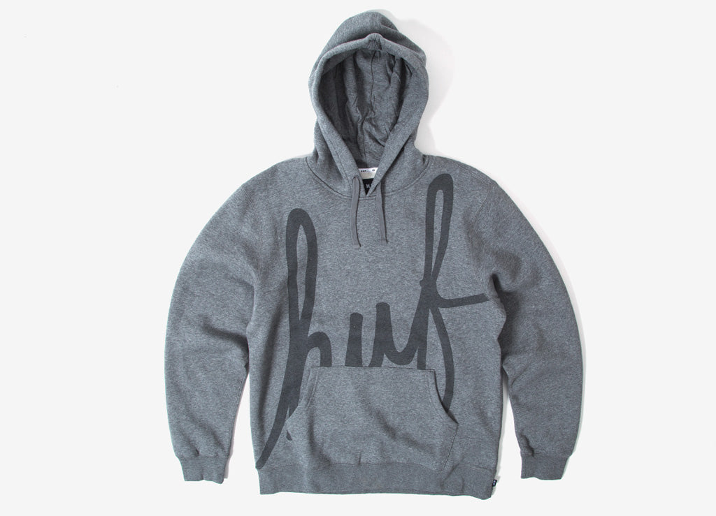 HUF Big Script Pullover Hoody - Heather Grey