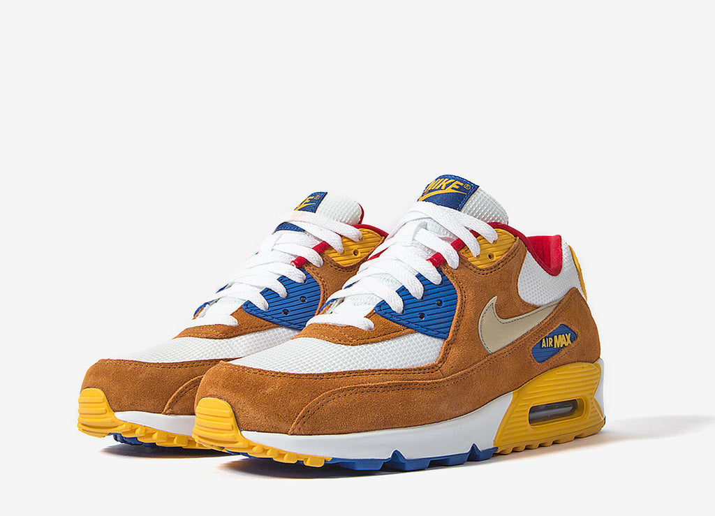 Nike Air Max 90 Curry Premium Shoes - White/Metallic Gold Grn-Twny-Game Royal