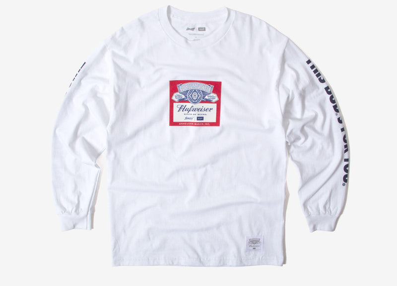 HUF x Budweiser Label LS T Shirt - White