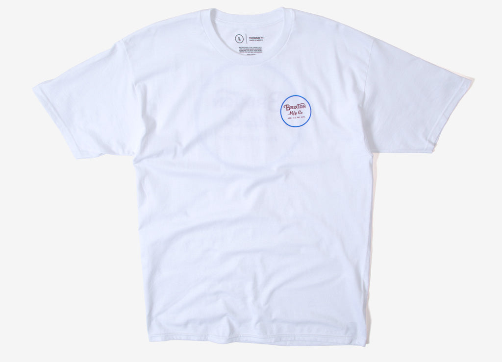 Brixton Wheeler II T Shirt - White/Blue/Red
