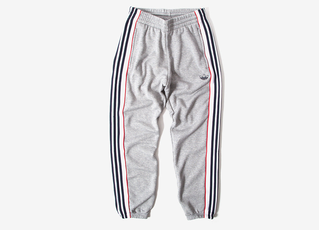 adidas Originals 3 Stripe Panel Sweatpants - Grey/White