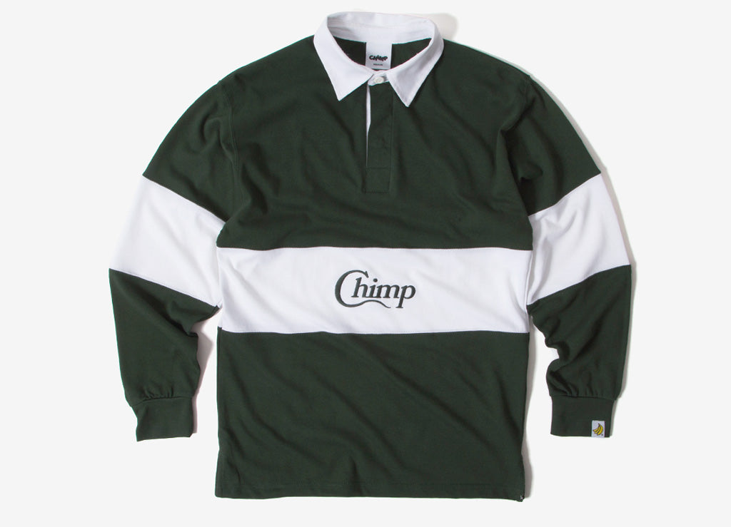 Chimp Motif Rugby Shirt - Olive/White