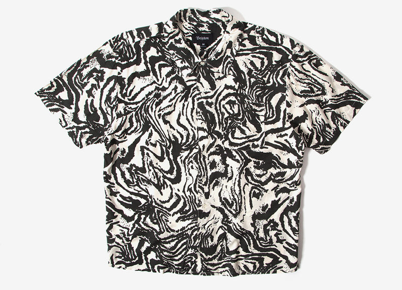Brixton Lovitz Short Sleeve Shirt - Washed Black/Bone