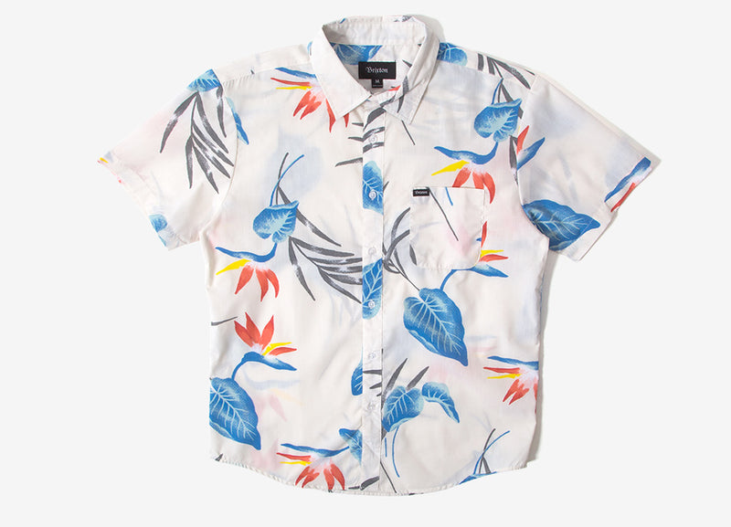 Brixton Charter Print Short Sleeve Shirt - Off-White/Blue