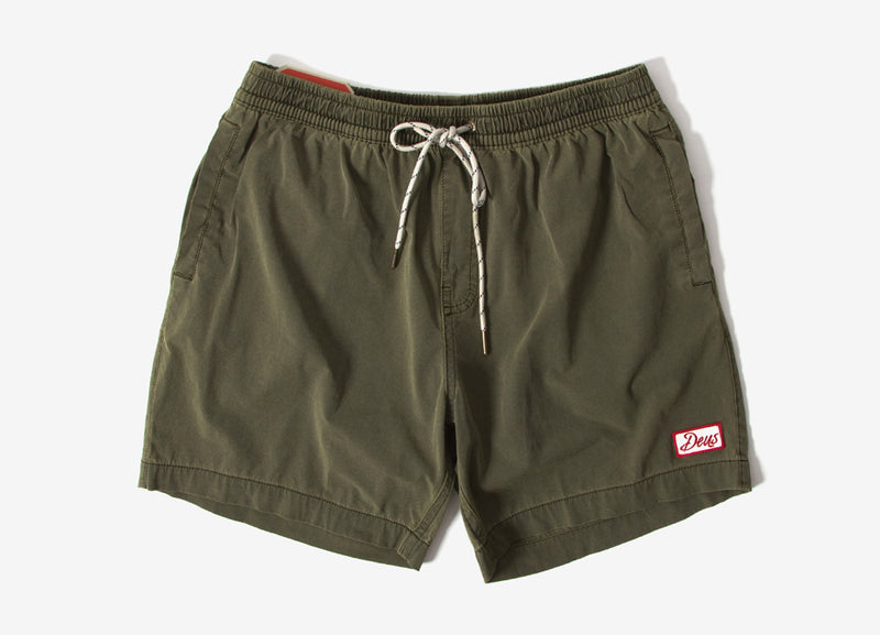Deus Ex Machina Sandbar Solid Garment Dye Shorts - Dark Olive
