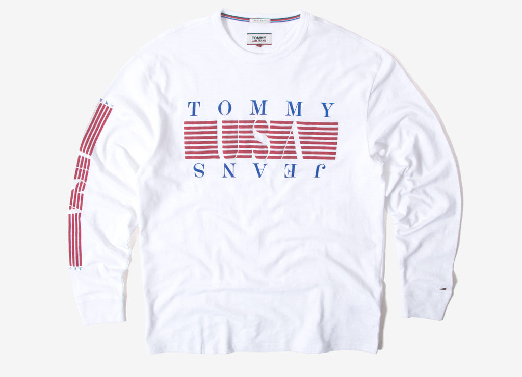 Tommy Jeans Stripe Long Sleeve T Shirt - Classic White