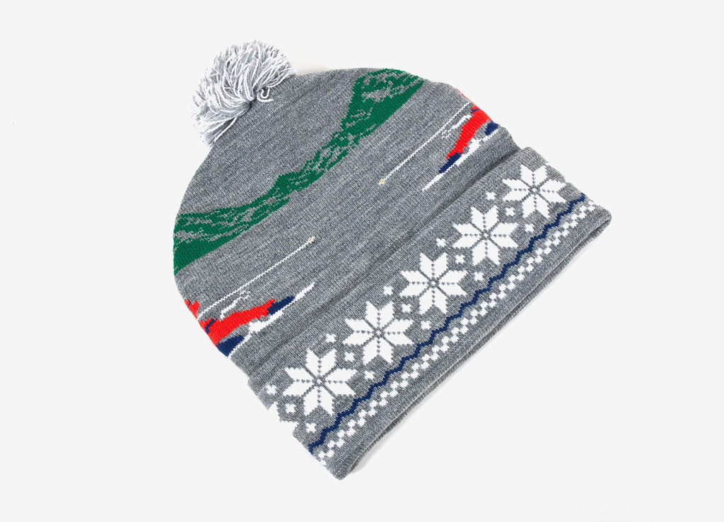 Undefeated Slalom Pom Pom Beanie Hat - Heather Grey