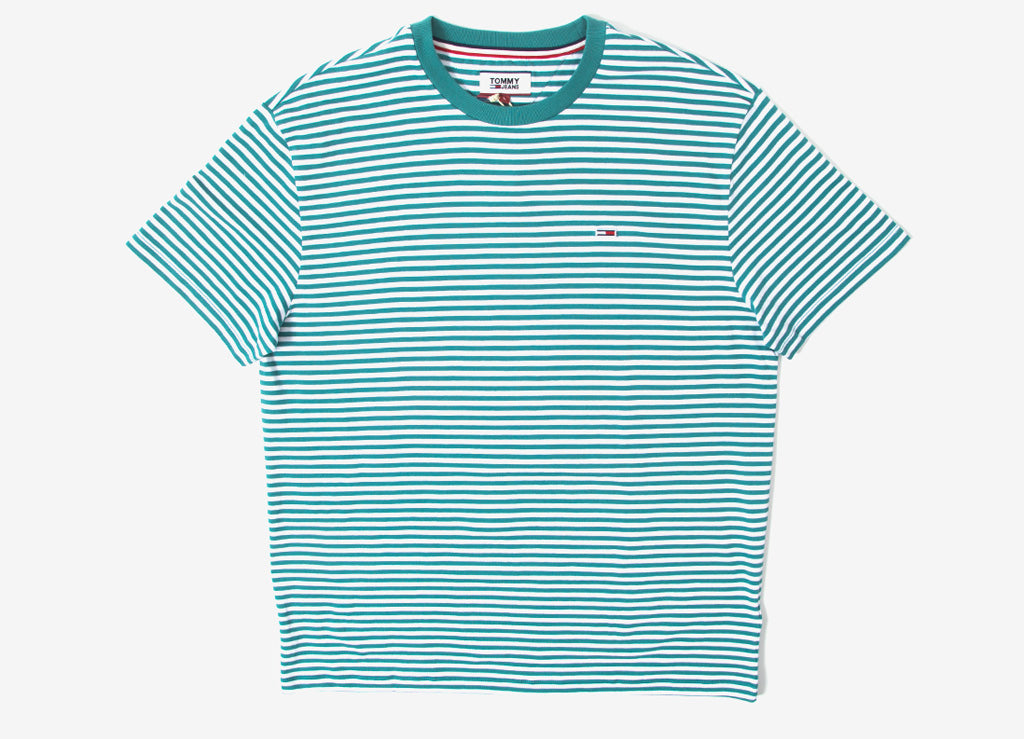 Tommy Jeans Classic Stripe T Shirt - Green Blue Slate