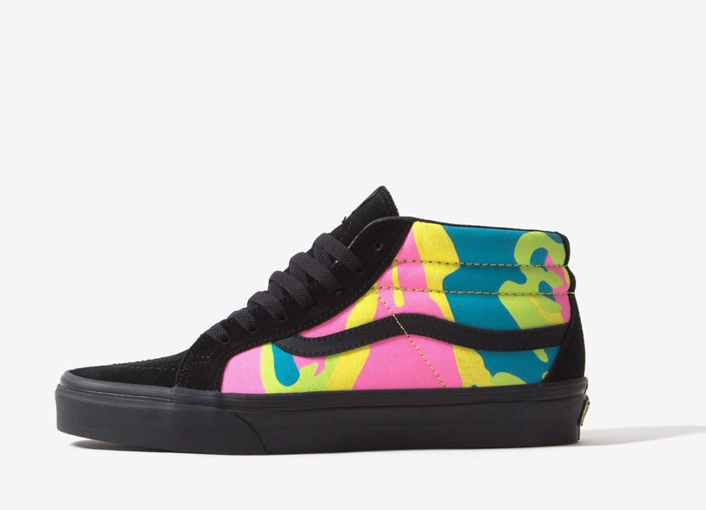 255656a163 Vans Sk8-Mid Reissue (Neon Camo) Shoes - Multi Camo Black