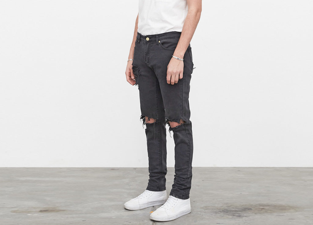 Profound Aesthetic Washed Black Destroyed Denim Jeans - Allover
