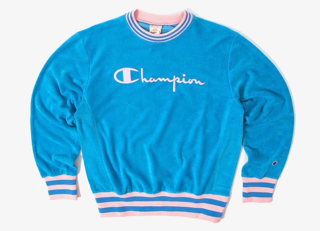 Champion Reverse Weave Vintage Terry Crewneck Sweatshirt - Blue