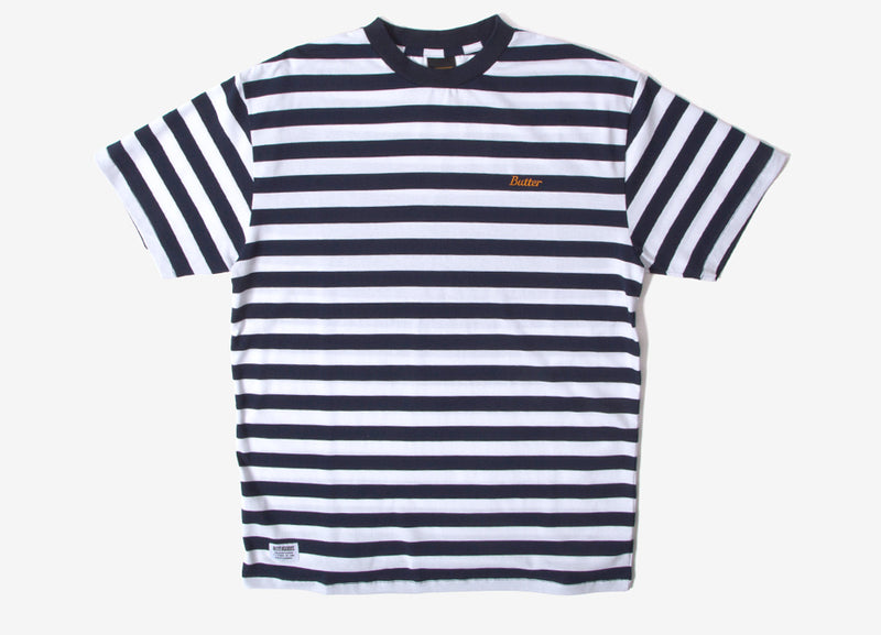Butter Goods Cycle Stripe T Shirt - Navy/White
