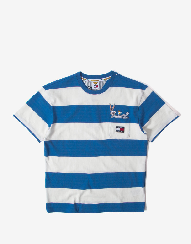 Tommy Jeans x Looney Tunes Striped T Shirt - Blue/White