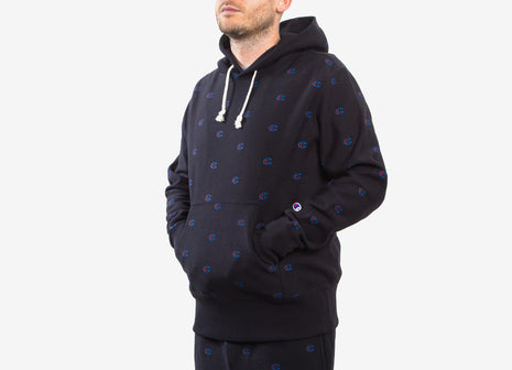 Champion Reverse Weave Allover Print Pullover Hoody - Black