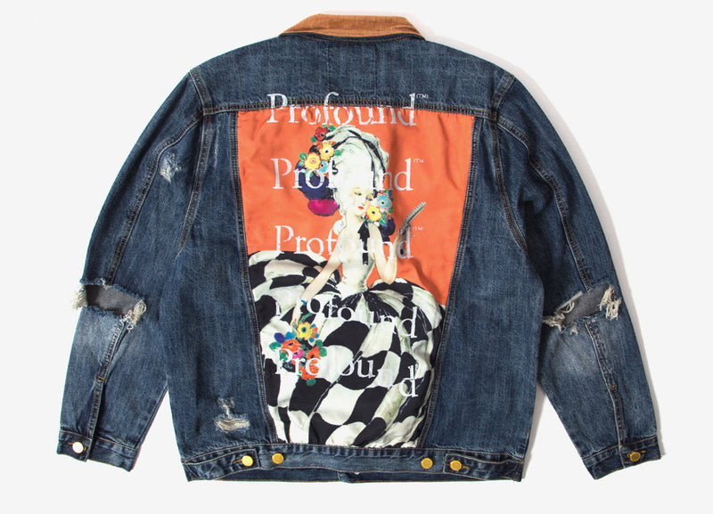 Profound Aesthetic Printed Panel Denim Jacket - Indigo