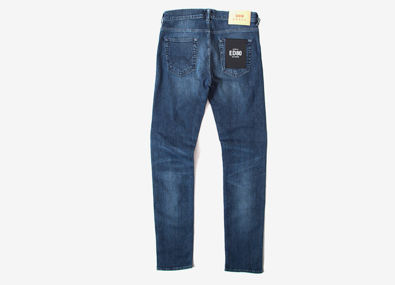 Edwin ED-80 Slim Tapered CS Red Listed Selvedge Jeans - Blue Mission Wash