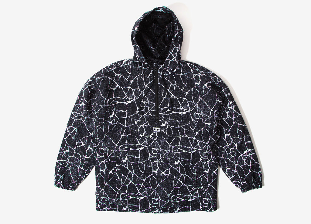Obey Concrete Anorak Jacket - Cracked Black