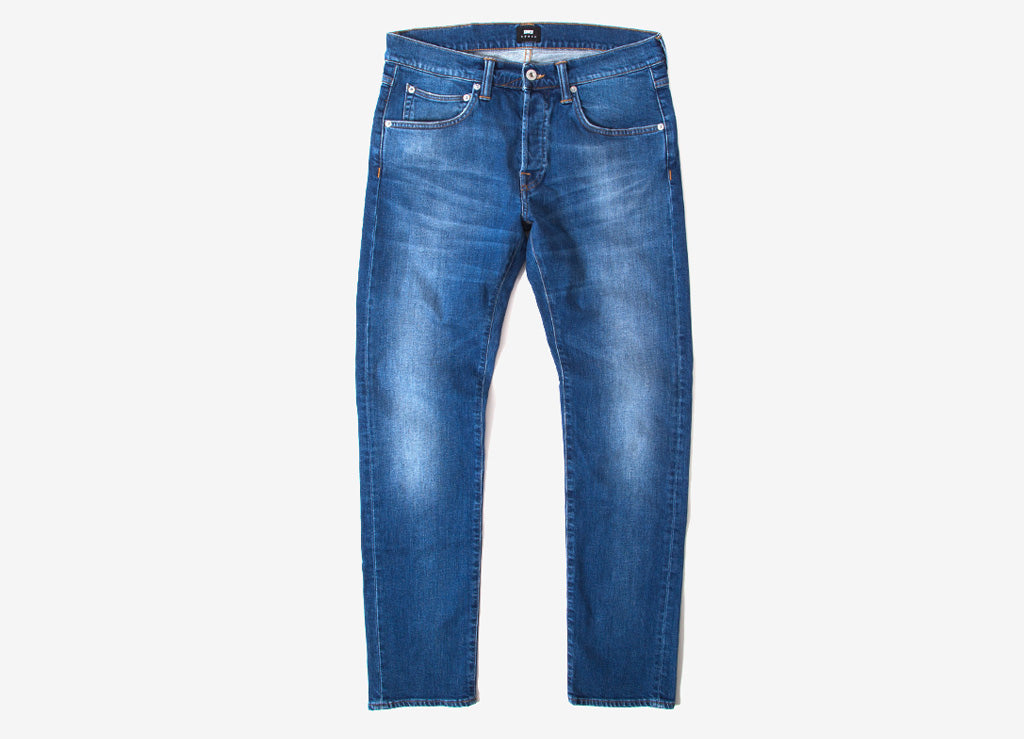 Edwin ED-55 Regular Tapered CS Power Blue Denim Jeans - Birger Wash