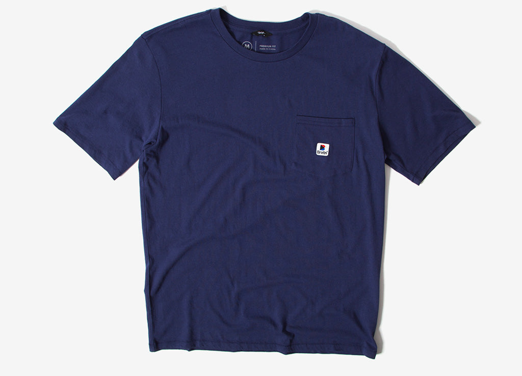 Brixton Stowell Pocket T Shirt - Patrol Blue
